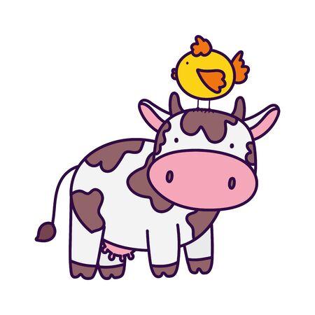 cow with chicken in head farm animal cartoon vector illustration Ilustração