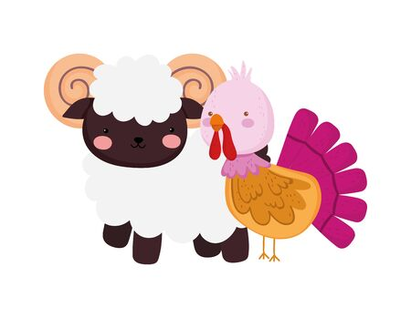 ram and turkey farm animal cartoon vector illustration