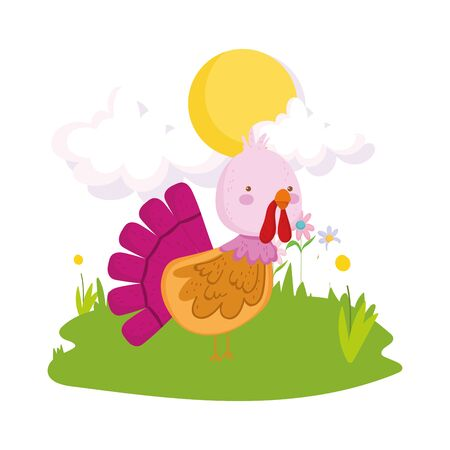 cute turkey fence grass sun clouds farm animal cartoon vector illustration