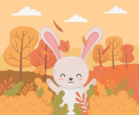 cute happy rabbit trees animal autumn season vector illustration image Ilustracja