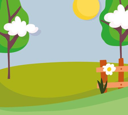 landscape nature trees fence flower field clouds sun vector illustration
