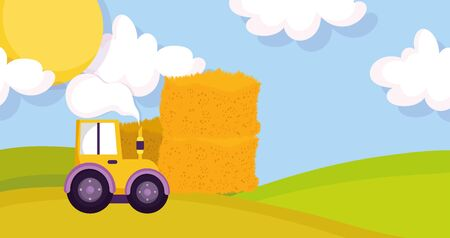 forklift with stacked hay meadow sun farm animal cartoon vector illustration