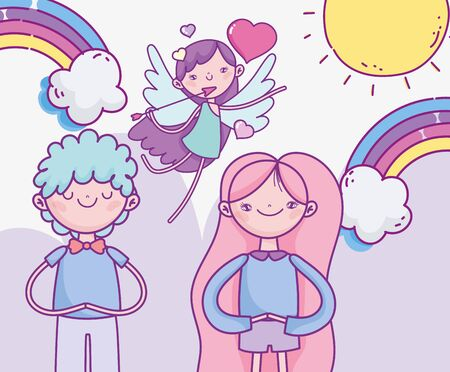happy valentines day, cute couple and flying cupid with arrow hearts rainbow love vector illustration