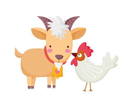 goat rooster farm animal cartoon vector illustration 向量圖像