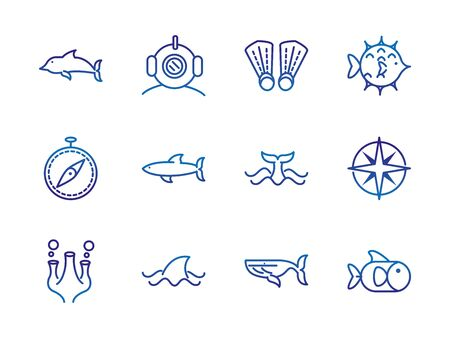 marine life nautical sea animals and equipment thick line blue icons vector illustration Foto de archivo - 138396561