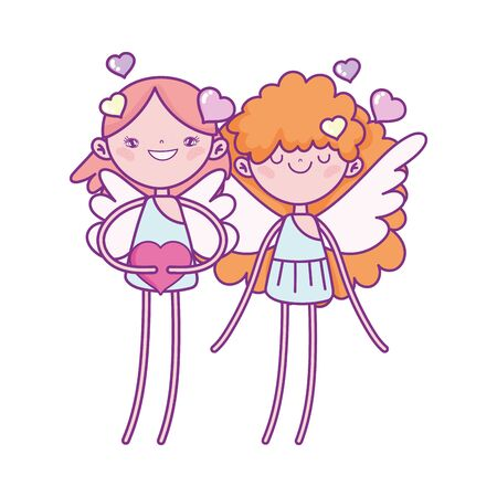 happy valentines day, cute cupids with hearts feeling romantic cartoon vector illustration