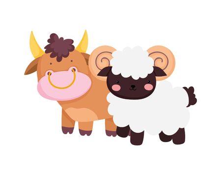 bull and ram farm animal cartoon vector illustration Ilustração