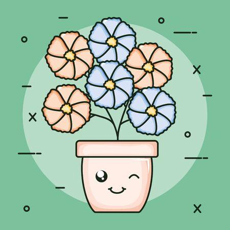 garden plant in pot kawaii character