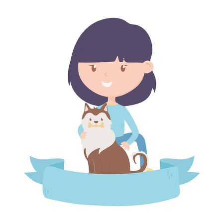 young woman with dog adoption charity and donation vector illustration