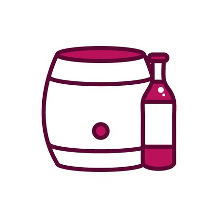 wine bottle and barrel celebration drink beverage icon vector illustration line and filled