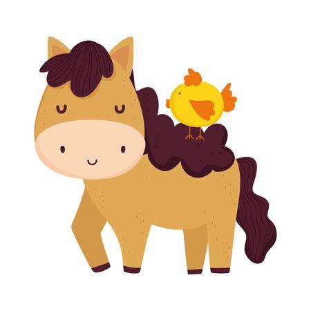 chicken on horse farm animal cartoon vector illustration