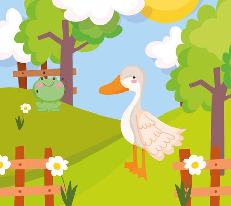 goose and frog grass flowers fence trees farm animal cartoon vector illustration