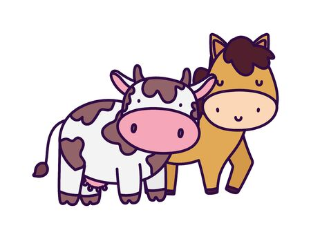 horse and cow farm animal cartoon vector illustration