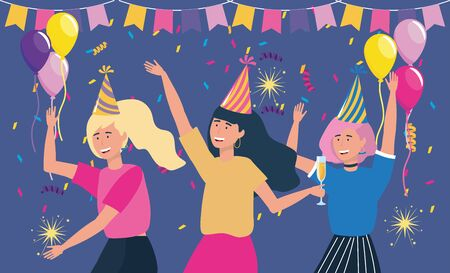 women with hat and party banner with balloons to decoration event vector illustration