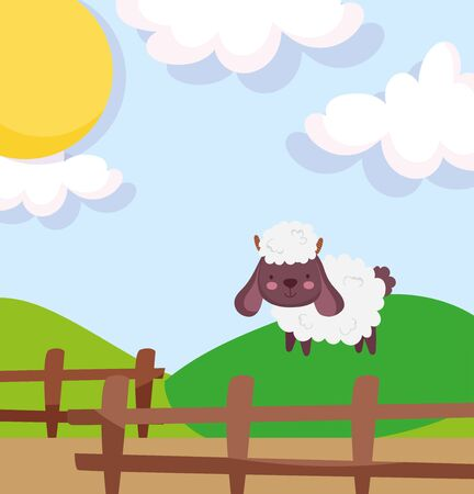 sheep hill fence sunny day farm animal cartoon vector illustration