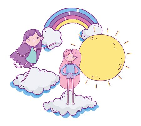 happy valentines day, cute girl and cupid in clouds rainbow sun vector illustration Ilustracja