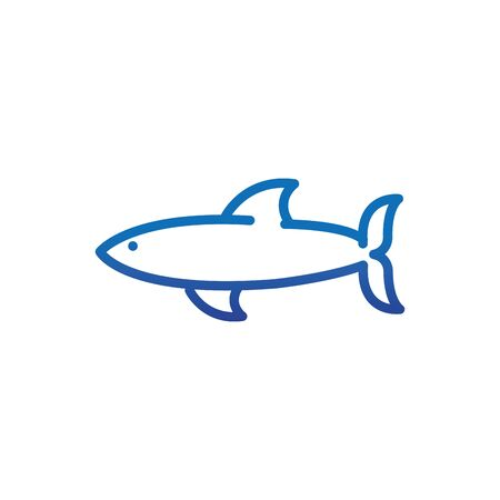 shark animal marine life thick line blue vector illustration Ilustrace