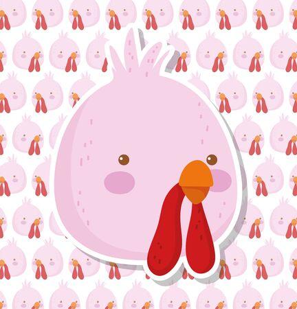 turkey bird farm animal cartoon decoration background vector illustration