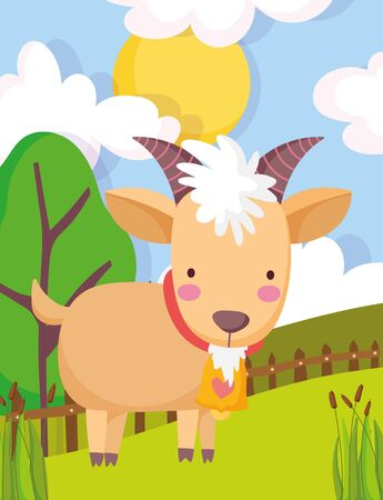 goat wooden fence trees sun clouds farm animal cartoon vector illustration