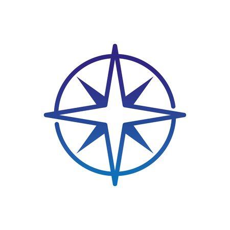 compass wind rose travel destination marine life thick line blue vector illustration Çizim