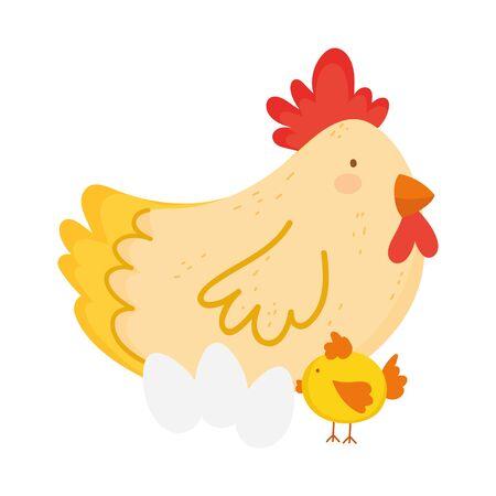 hen chicken and eggs farm animal cartoon vector illustration
