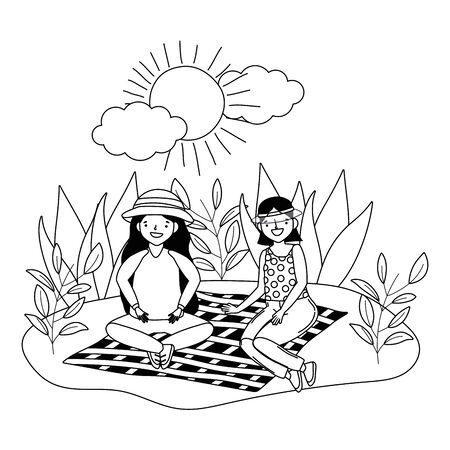 Women friends having picnic design, Food summer outdoor leisure healthy spring lunch and meal theme Vector illustration Ilustracja
