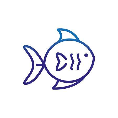 fish marine life thick line blue vector illustration Foto de archivo - 138396826