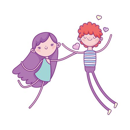 happy valentines day, young man in love and cute cupid hearts vector illustration Ilustração