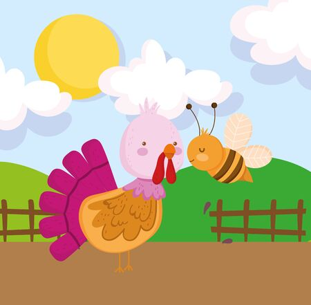 turkey and bee wooden fence grass sun farm animal cartoon vector illustration