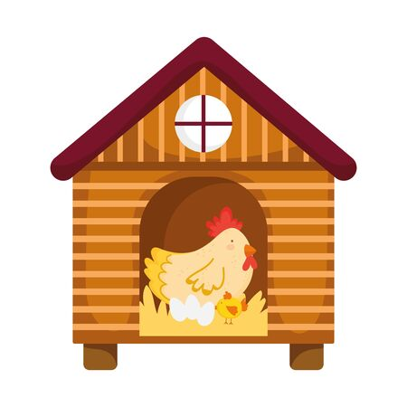 hen chicken and eggs in wooden house farm animal cartoon vector illustration