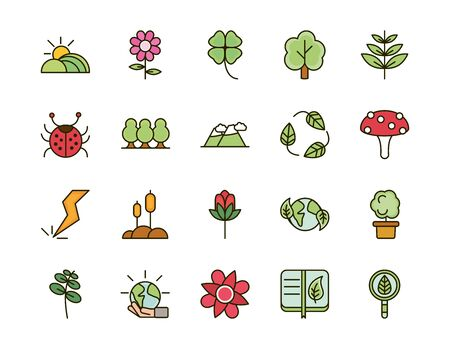 nature foliage botanical ecology drawing icons set vector illustration