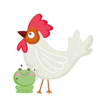 rooster and frog farm animal cartoon vector illustration