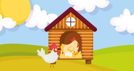 house hen rooster chicken and eggs farm animal cartoon vector illustration