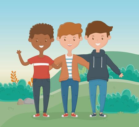 Boys cartoons design, Firiendship together friends happy people and young theme Vector illustration