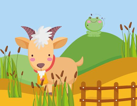 goat and frog in hill wooden fence plants farm animal cartoon vector illustration