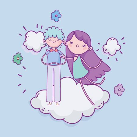 happy valentines day, cute boy and cupid standing on cloud flowers romantic vector illustration