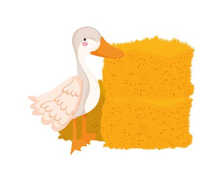 goose hay stack farm animal cartoon vector illustration