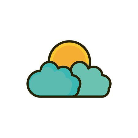 clouds sun weather nature drawing vector illustration