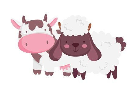 cow and sheep farm animal cartoon vector illustration