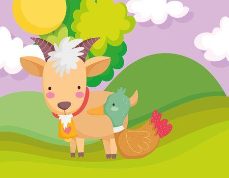 goat with bell duck field tree sun farm animal cartoon vector illustration