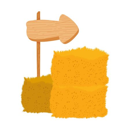 farm guide arrow in wooden and bale of hay vector illustration  イラスト・ベクター素材