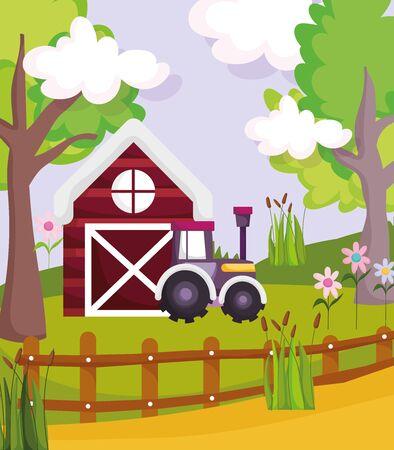 barn tractor fence flowers plants trees farm animal cartoon vector illustration