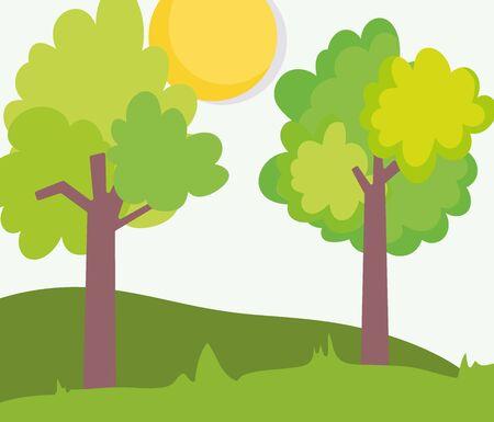 landscape farm trees foliage meadow clouds sun vector illustration