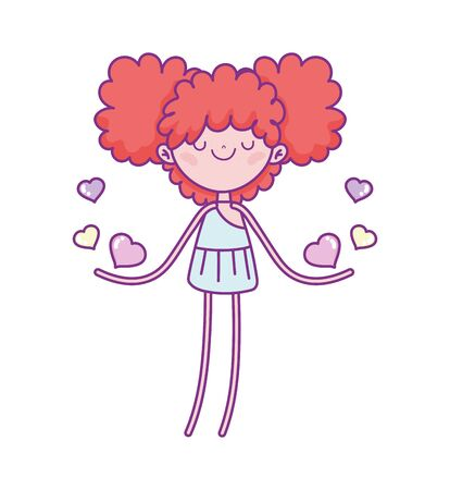 happy valentines day, funny cupid with hearts cartoon vector illustration