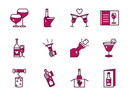 wine celebration drink beverage party event icons collection line and filled