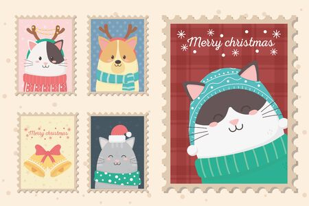 collection celebration happy christmas stamps 일러스트