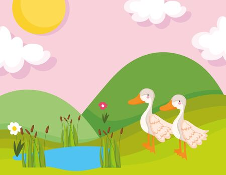 geese lake grass flower vegetation farm animal cartoon vector illustration