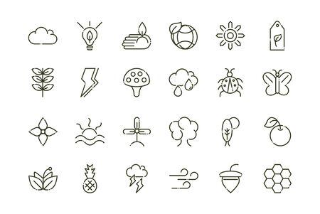 forest foliage ecology nature line design icons set vector illustration Ilustracja