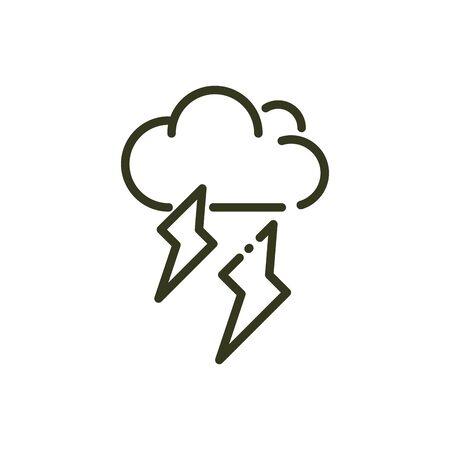 cloud thunderbolt storm rays nature line design vector illustration Stok Fotoğraf - 138416222