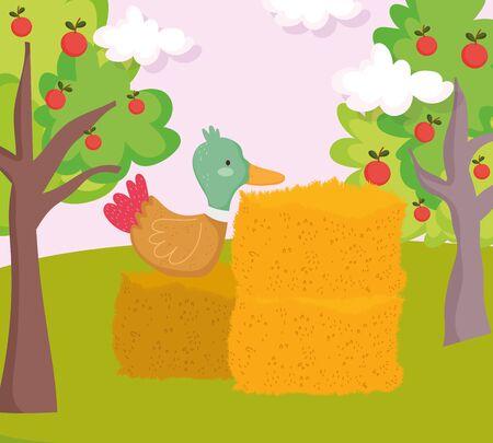 duck on stack hay fruits trees farm animal cartoon vector illustration